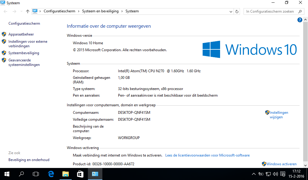 netbook met Windows 10
