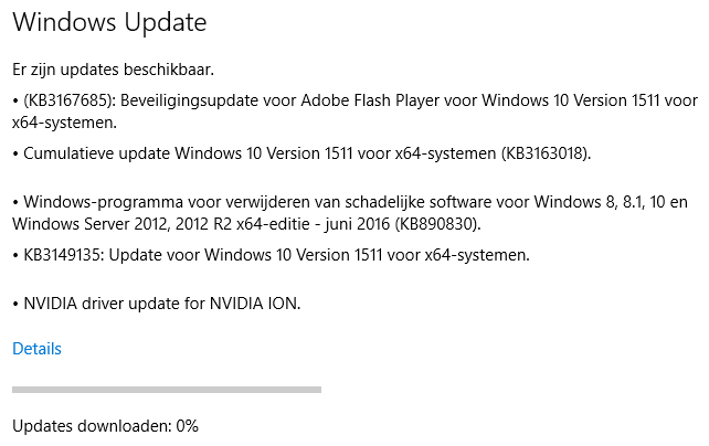 Windows update instellen