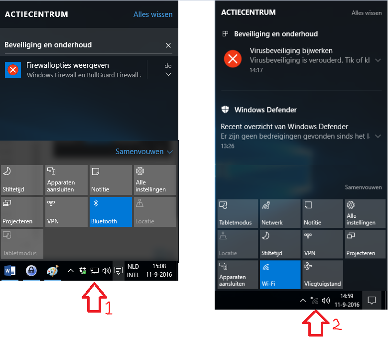 Windows 10 actiecentrum